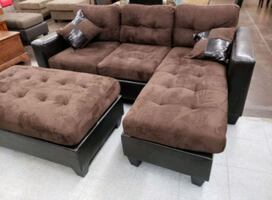 Brand New Brown Microfiber Sectional Sofa Couch + Ottoman
