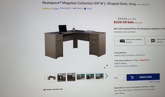 "Realspace Magellan Collection 59"" L-shaped Desk, Gray"