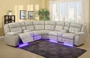 NEW 6 PCS LED POWER RECLINER SECTIONAL