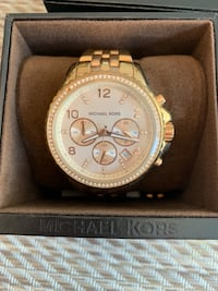 Round gold michael kors chronograph watch with link bracelet Columbia, 21045