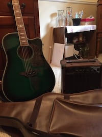 Green and black acoustic guitar with case Decatur, 62521