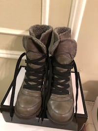 Gray fur lined ankle boots. Brand new never worn size 8 1/2