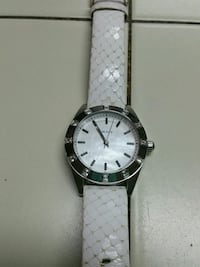 round silver-colored analog watch with white leath Peterborough, K9H 5J7