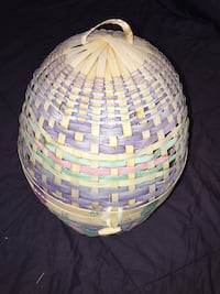 round beige and purple wicker basket Essex