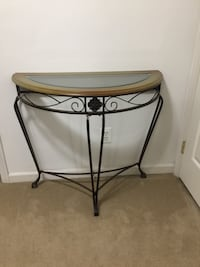 Half moon console table W36-D17-H32. Glass top. Wood & Metal in excellent condition  Haymarket, 20169