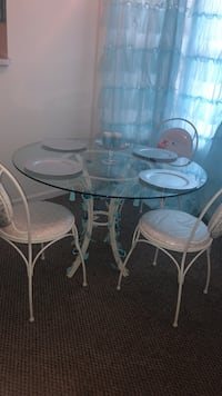 round glass top table with four chairs dining set Denton, 21629