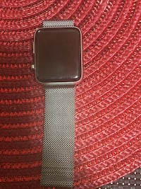 silver aluminum case Apple Watch with black sport band Milwaukee, 53214