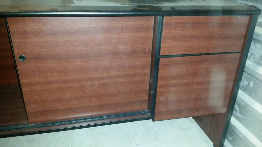 Desk and Hutch (brown wood & black leather)  3