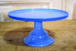 Blue glass pedestal dessert plate