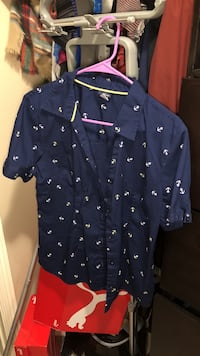 Blue and white anchor print button-up t-shirt Brownsville, 78520