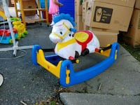 toddler's blue and red ride on toy