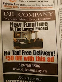 $50 OFF COUPON FOR FURNITURE  Guelph, N1K 1A8
