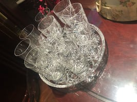 $75 take all 9 water/juice/wine pinwheel crystal and 1 footed tray