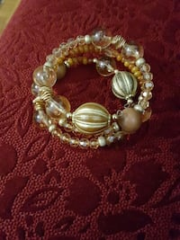 brown yellow and gray beaded bangle bracelet
