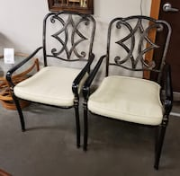Matching Pair of Black Metal Chairs w/ Leather Seat Cushions 287 mi