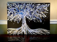 Original abstract tree painting White Scottsdale, 85255