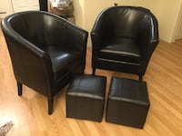 Pair of comfy chairs and matching stools, 4 pcs total, in black. Perfect condition and like new   Los Angeles, 91604