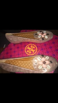 Women's rose gold tory burch patent leather flat shoes