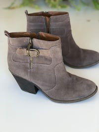 """Lucky taupe suede booties.  Worn about 5 times!   Size 8.5 true to size.  2.5"""" heel."""