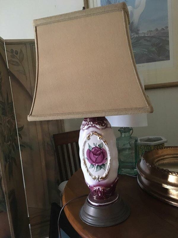 pink and white flower print case brown shade table lamp