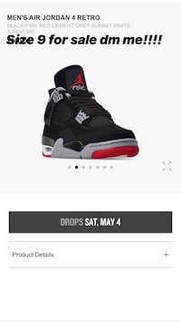 black and red Air Jordan 4 shoe screenshot Upper Marlboro, 20774