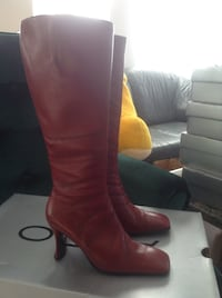 Pair of Wine ALDO leather knee-high boots (new) Vancouver, V5M 4C3