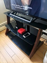 TV stand - real wood frame and glass top