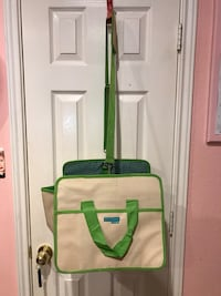 women's white and green two-way bag