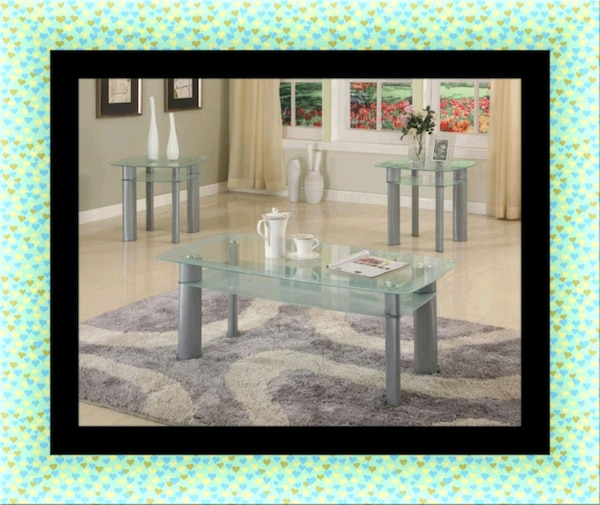 Glass white coffee table