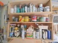 Various paints and stains, etc