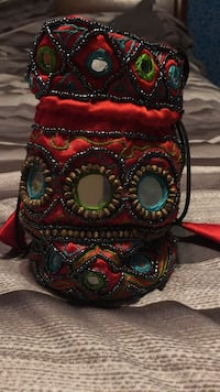 Drawstring beaded Indian style bag for jewelry etc. Surrey, V4N 0V1