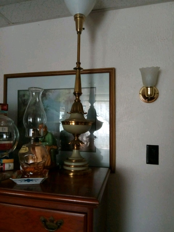 brown wooden framed glass table lamp