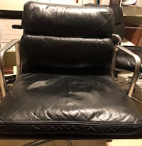 Black leather sofa chair with ottoman Lakewood, 98498