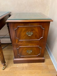 Antique-style wooden side cabinet with locking drawers