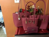 pink and green leather tote bag 16 mi