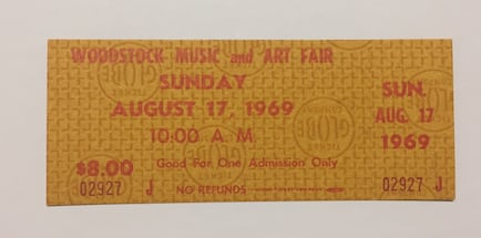 Original Woodstock 1969 Ticket - Sunday Hendrix performance- will ship