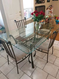 6 chair glass dining table  Surrey, V3W 2X5