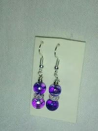pair of purple-and-silver hook earrings Inverness