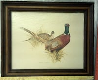 two peahens painting with brown wooden frame Franklinton