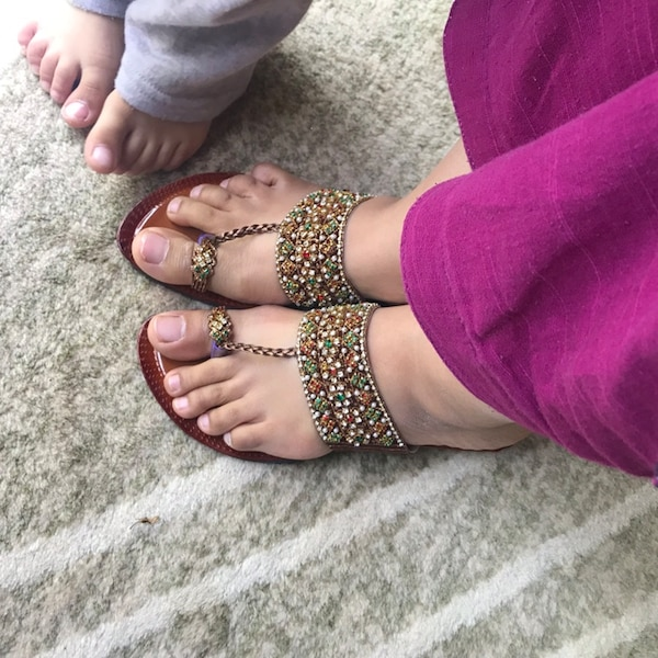 Glass beads sandals shoes Pakistani Indian