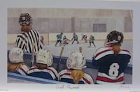 "GIRL POWERED - 12""x10"" signed framed hockey print by John Newby Collectible Rare  Edmonton"