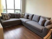 gray fabric sectional sofa with throw pillows Toronto, M4P 0B2