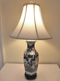 Navy Blue Vintage Hand-Painted Porcelain Lamp from Hong Kong Linganore