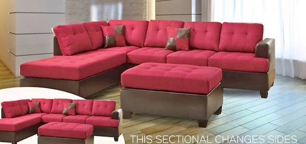 Brand new red linen sectional sofa with ottoman  4b5a71fb-9151-499a-a20c-0536d58901b1
