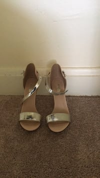 pair of brown leather open toe ankle strap heels Baltimore, 21222