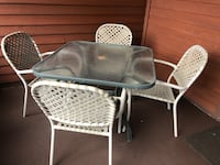 rectangular white metal table with four chairs patio set Payson, 85541