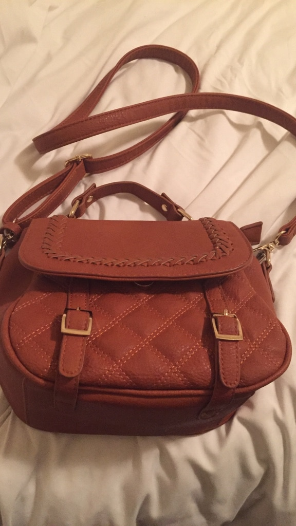 brown leather quilted 2-way handbag