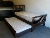 Twin on twin brown trundle bed complete