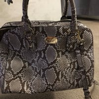 Black and gray snakeskin leather tote bag New York, 10308