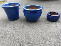 Two blue ceramic candle holders Leesburg